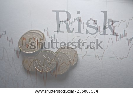 "Financial concept. Inscription ""Risk"" on PC screen. - stock photo"