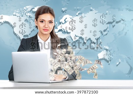 Financial concept. Make money on the Internet.Business lady with laptop on world map background - stock photo