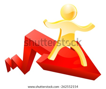 Financial concept of a graph or chart arrow moving up with a person on it - stock photo