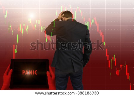 """Financial Concept : Panic selling does not involve an evaluation of the fundamentals of a stock """" Panic"""" words in red on tabled in hands and Young businessman his declining share. Bad business. - stock photo"""