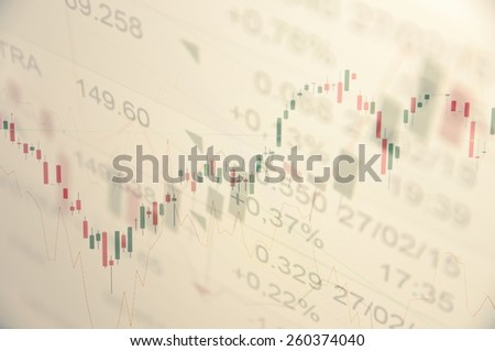Financial concept. Trading terminal on PC monitor. Rising stock chart with moving averages & quotes. Multiple exposure. - stock photo
