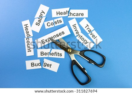 Financial control concept illustrated with scissors cutting papers with company expenses written on them