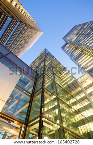 Financial Corporate building Skyscrapers at night, City of London, England, UK  - stock photo
