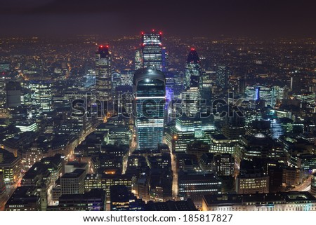 Financial Corporate building Skyscrapers office center at night, City of London