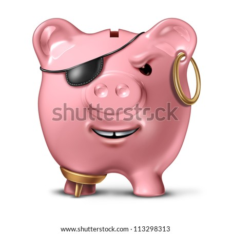 Financial criminal and bank fraud concept with a pink ceramic piggy bank disguised as a pirate as a legal and illegal symbol of finance and savings crime on a white background.