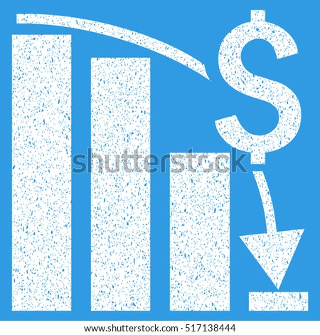 Financial Crisis Bar Chart Trend grainy textured icon for overlay watermark stamps. Flat symbol with dirty texture. Dotted glyph white ink rubber seal stamp with grunge design on a blue background.