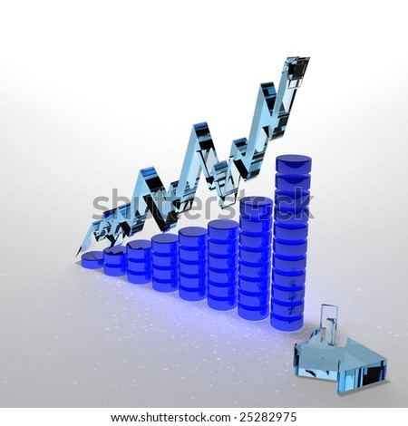 Financial Crisis - Glass Graph - stock photo