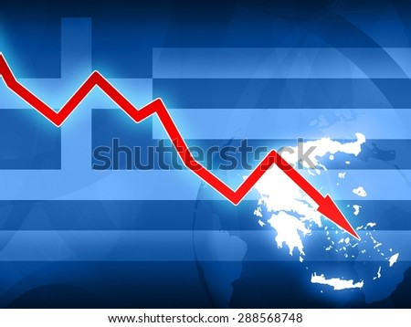 financial crisis in Greece red arrow - concept news illustration - stock photo