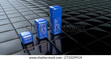 Financial data in form of charts as blue columns  - stock photo