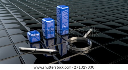 Financial data in form of charts as blue columns with pen and magnifier - stock photo