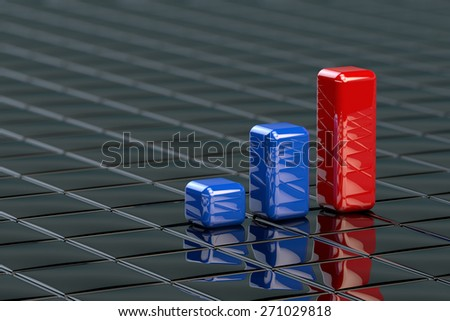 Financial data in form of charts as colored columns  - stock photo