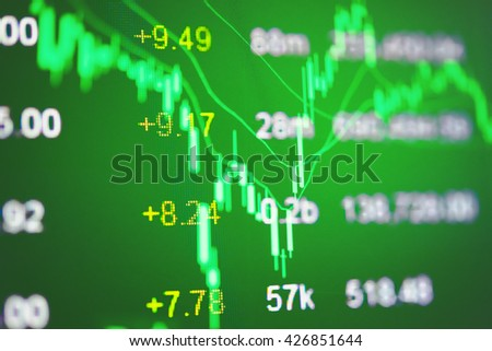 Financial data on a monitor. Finance data concept. stock market pricing abstract. Business background. Market Analyze.Bar graphs, diagrams, financial figures. Forex trading.