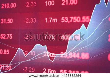 Financial data on a monitor. Finance data concept. stock market pricing abstract. Business background. Market Analyze.Bar graphs, diagrams, financial figures. Forex trading. - stock photo