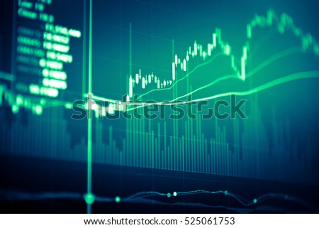 Financial data on a monitor. Finance data concept. stock market pricing abstract business background. Market Analyze in digital information such as Bar graphs, diagrams,financial figures, Forex trend.