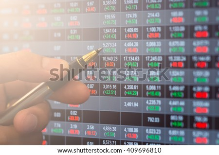 Financial data on a monitor,Stock market data on LED display concept - stock photo