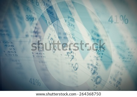 Financial data on a PC screen. Data analyzing. Multiple exposure. - stock photo