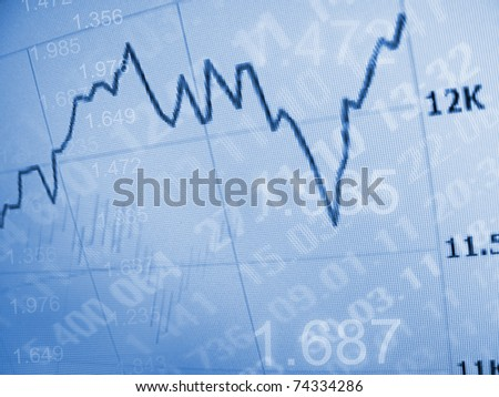 Financial diagram on a monitor - stock photo