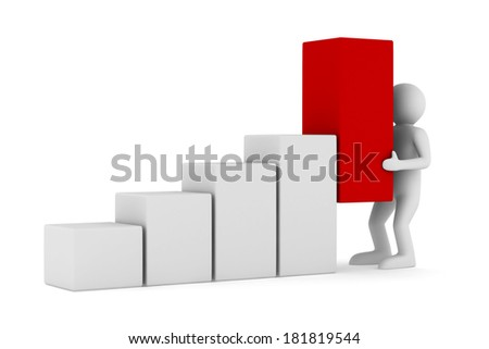 financial diagramme on white background. Isolated 3D image - stock photo