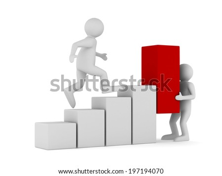 financial diagramme on white background. Isolated 3D image