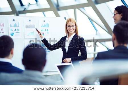 Financial director announcing data - stock photo
