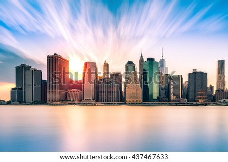Financial District at sunset, in New York City