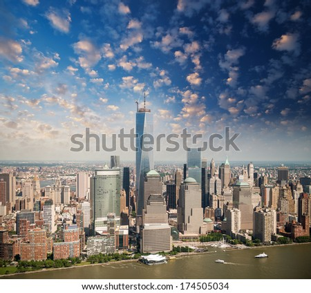 Financial District in New York as seen from Helicopter. - stock photo