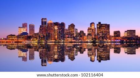 Financial District of Boston, Massachusetts viewed across from Boston Harbor. - stock photo