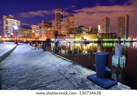 Financial District of Boston, Massachusetts viewed from Boston Harbor. - stock photo