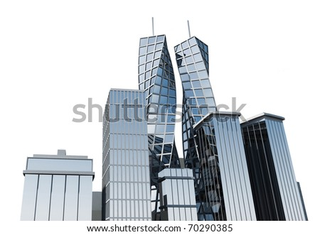Financial District on white background - stock photo