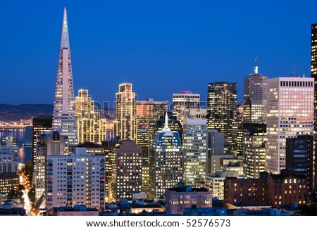 Financial district, San Francisco at dusk