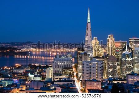 Financial district, San Francisco at dusk - stock photo