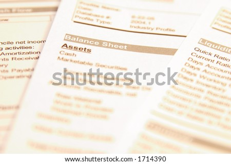 "Financial documents with focus on words ""Balance sheet"". Very easy to shift colours."
