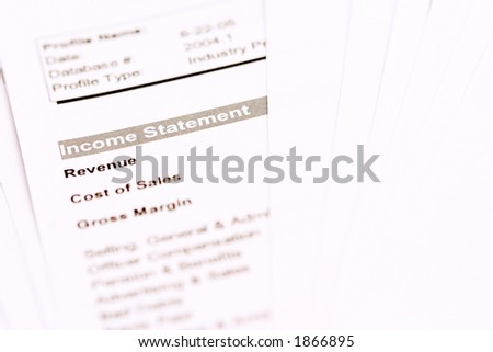 "Financial documents with the focus on the word ""Income Statement"" - stock photo"