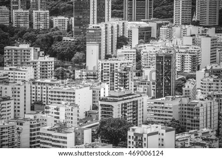 Financial Downtown of Rio de Janeiro, Brazil. black and white photography