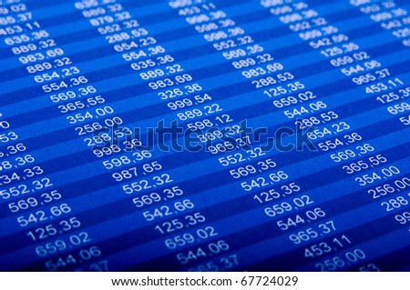 Financial excel sheet - stock photo