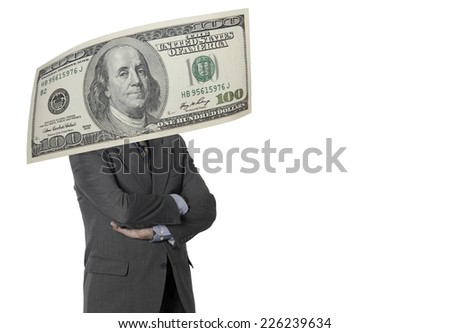 Financial executive with dollar bill isolated on white. Horizontal format