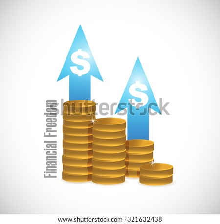 financial freedom coins graph sign concept illustration design graphic - stock photo