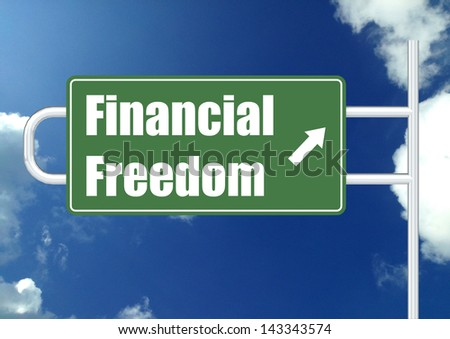 Financial freedom with sky - stock photo