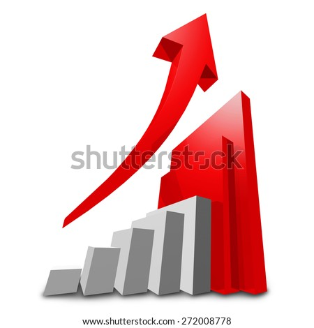 financial graph for growing market isolated on white background