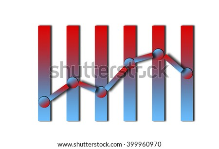 Financial graph in two colors with the scale of interest. Schedule from any column of six - bar graph in blue and red colors.Curve and financial schedule - the rise and fall as a percentage. - stock photo