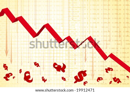 Financial graph showing downfall - recession - stock photo