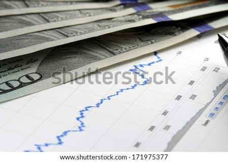 Financial graph with US currency and pen
