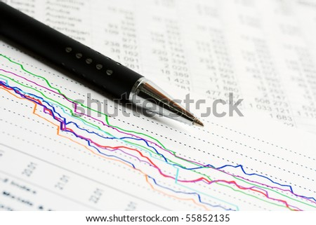 Financial graphs and charts. - stock photo