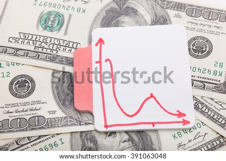 Financial Graphs on dollar bills background. A workplace of the businessman - stock photo