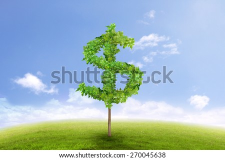 Financial growth and success on green summer natural green grass landscape with a single tree in the shape of dollar sign. Business concept of growing prosperity and investments - stock photo