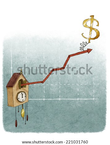 Financial growth chart cuckoo clock dollar - stock photo