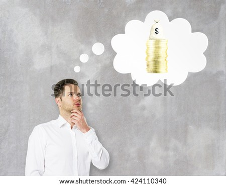 Financial growth concept with businessman thinking about money on concrete background - stock photo