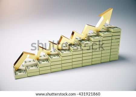 Financial growth concept with dollar banknote ladder and golden upward arrow on grey background. 3D Rendering - stock photo