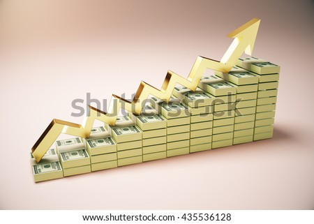 Financial growth concept with dollar banknote ladder and golden upward arrow on pinkish background. 3D Rendering - stock photo