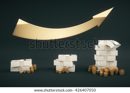 Financial growth concept with dollar banknote stacks, coins and upward arrow on dark backrgound. 3D Rendering - stock photo